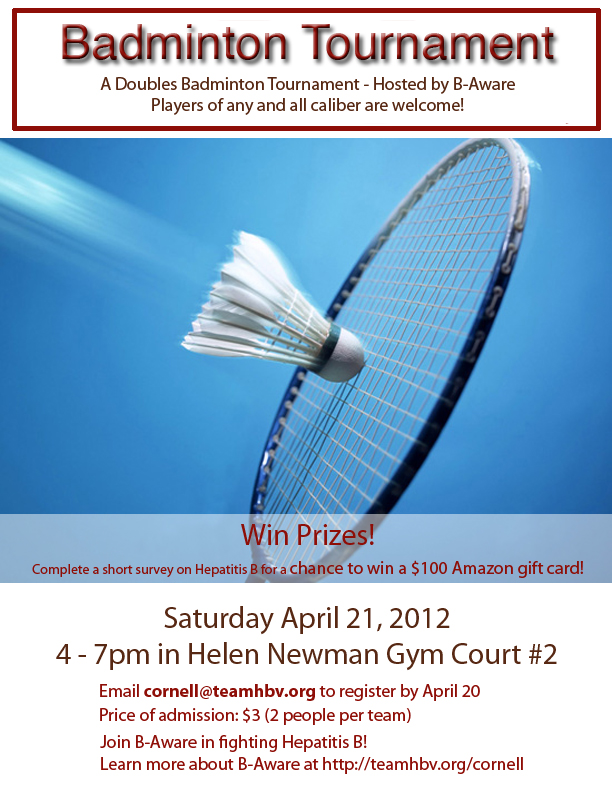 Cornell - Spring 2012 - Badminton Tournament